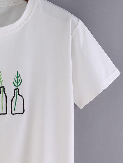 White Bottle Print Short Sleeve T-shirt