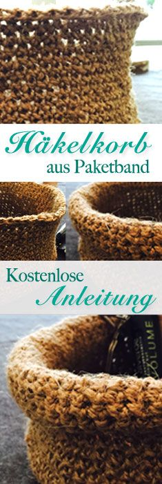 Photo of ✮ Kostenlose Häkelanleitung – Häkelkörbchen, Utensilo aus Juteschnur, Paket…
