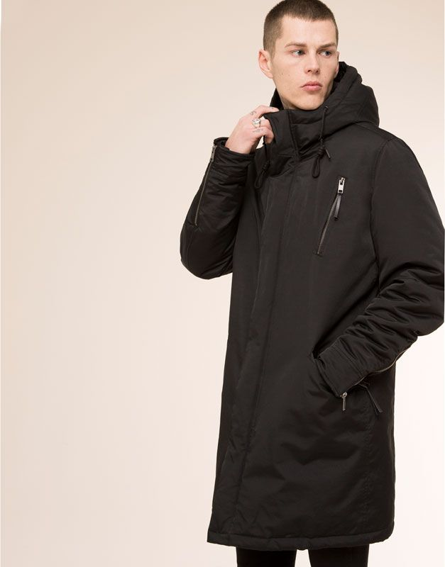 pull bear man jackets long hooded parka black jackets long parka revival clothing. Black Bedroom Furniture Sets. Home Design Ideas