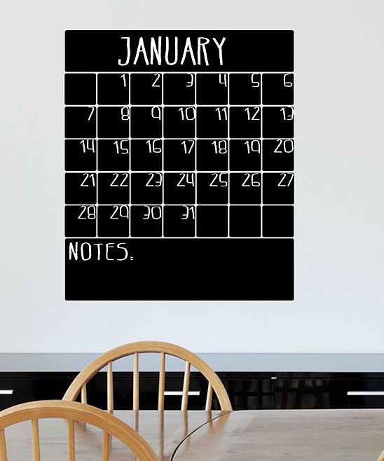 Month & Notes Section Chalkboard Wipe Away Calendar Vinyl Decal