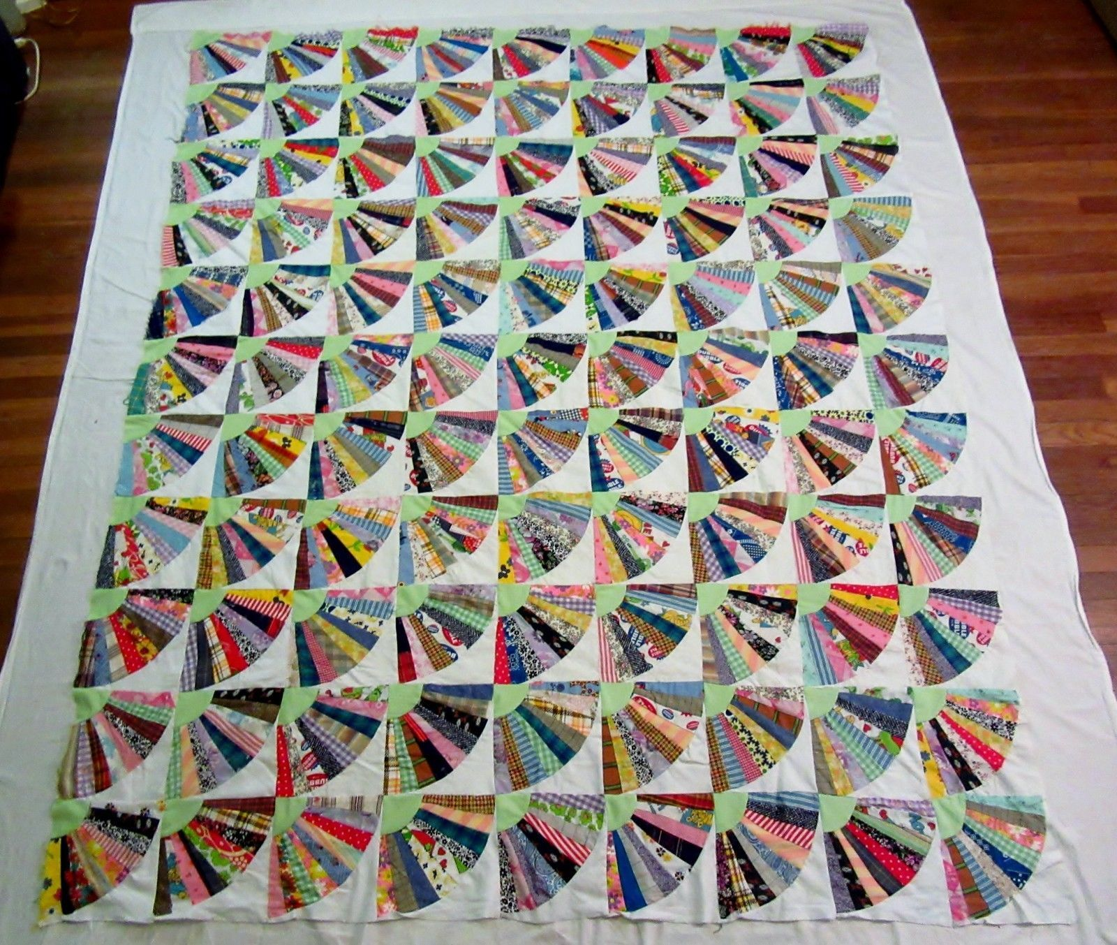Vintage 1940 s Handmade Fan Quilt Top with Novelty & Feed Sack