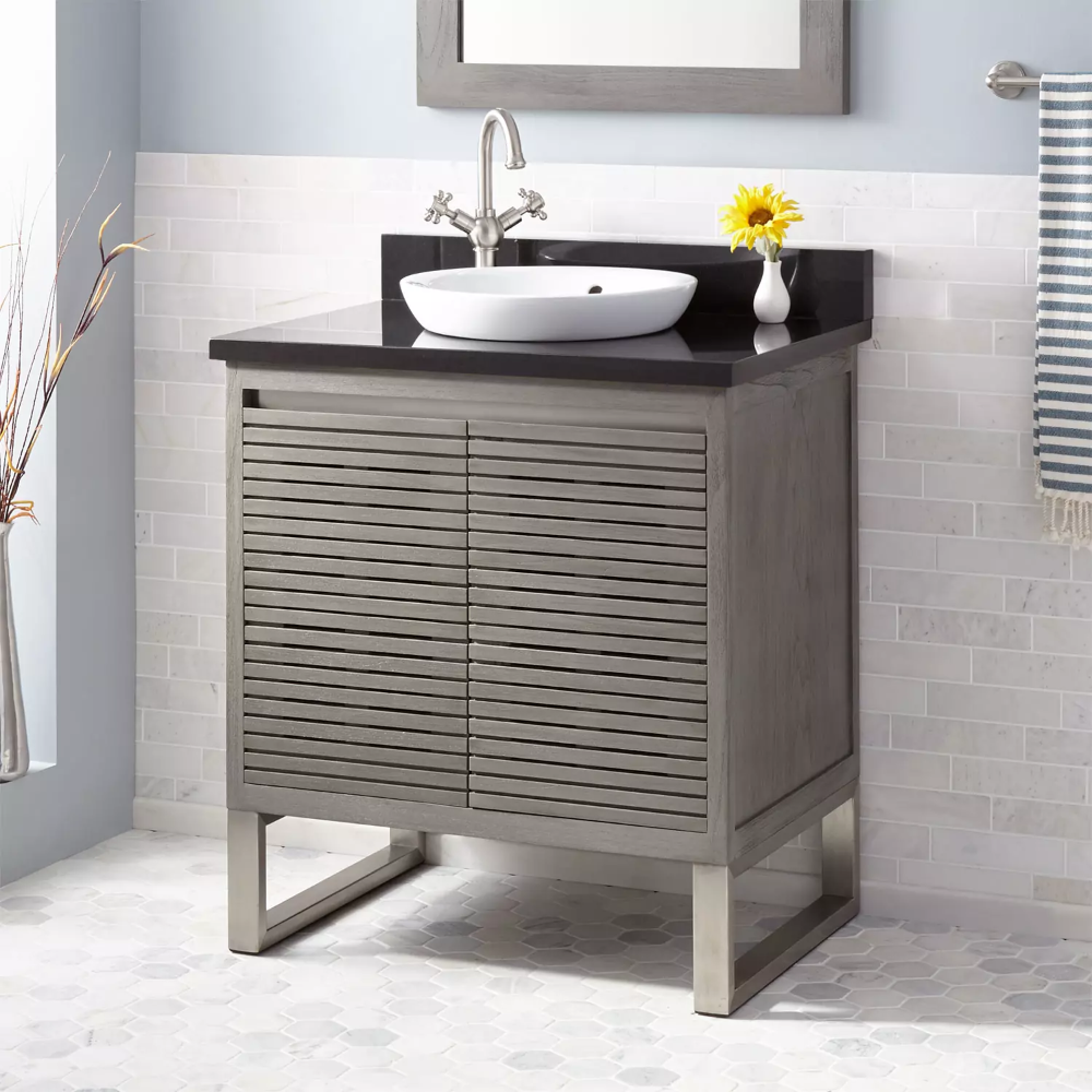 30 Dickson Teak Vanity For Semi Recessed Sink In Gray Wash