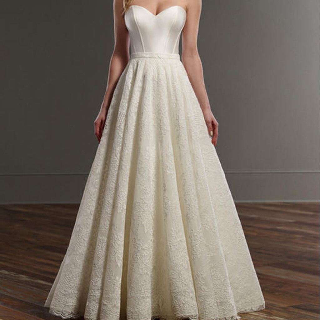 Long aline ivory sweetheart simple design lace wedding party
