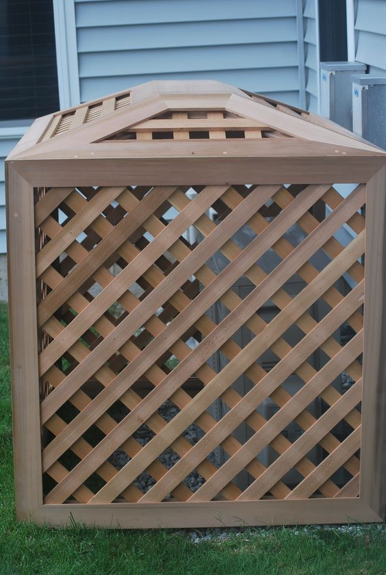 This Cover And Roof Has A Ductless Unit It But Can Be Made To Fit Your Outdoor Ac Condenser Good Size For The Ductless Allow Outdoor Diy Patio Outdoor Cover