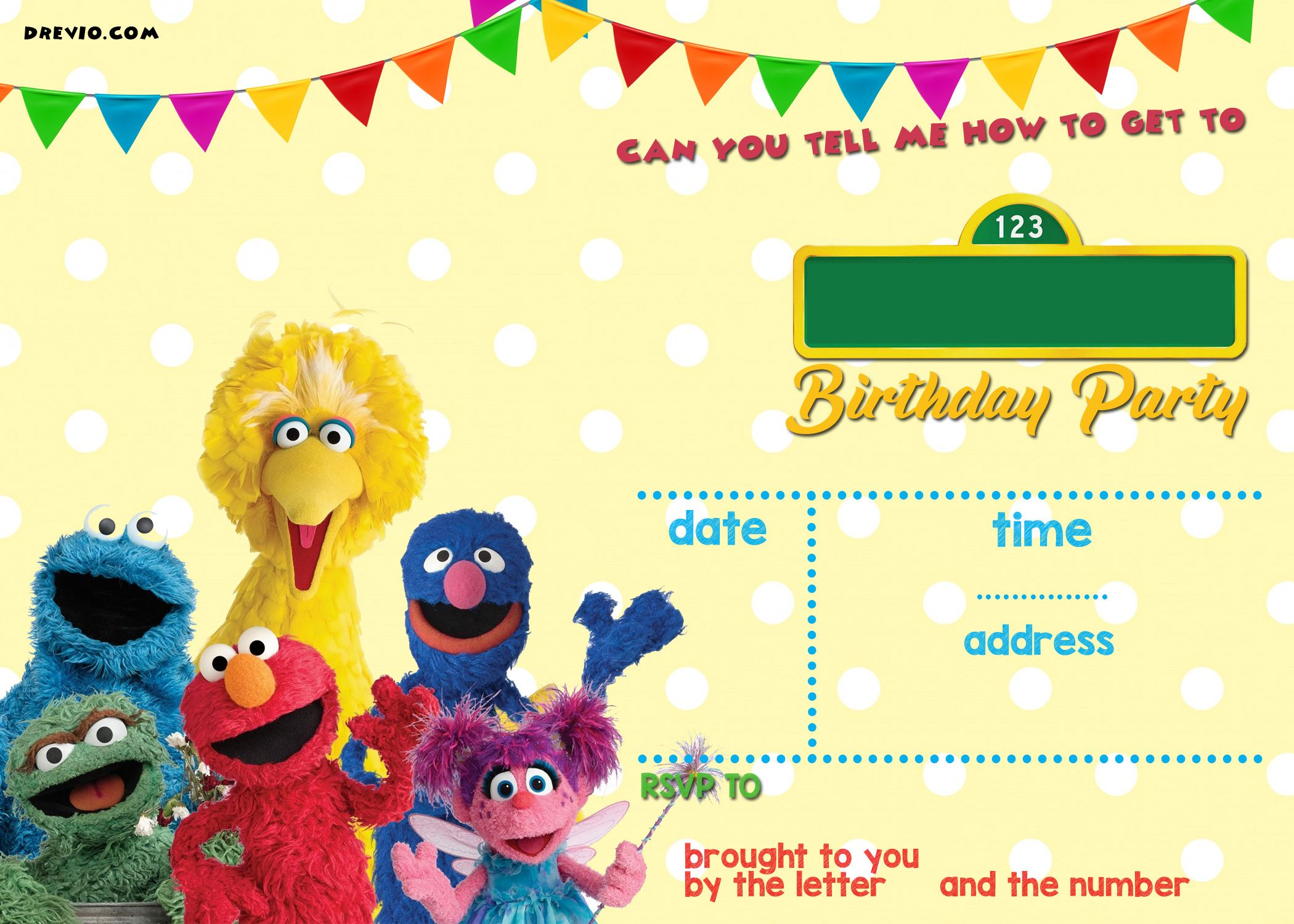 Awesome Sesame Street Birthday Invitations Online