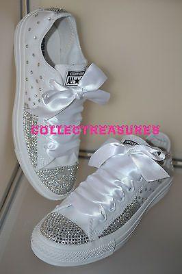 Custom Crystal Diamante Bling Wedding White MONO Converse Size UK 3 4 5 6 7  8