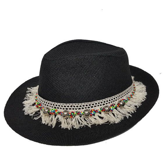 Panama Black Hat with Fringes Tassels Element Black by Craftasy ... 3d484c808764