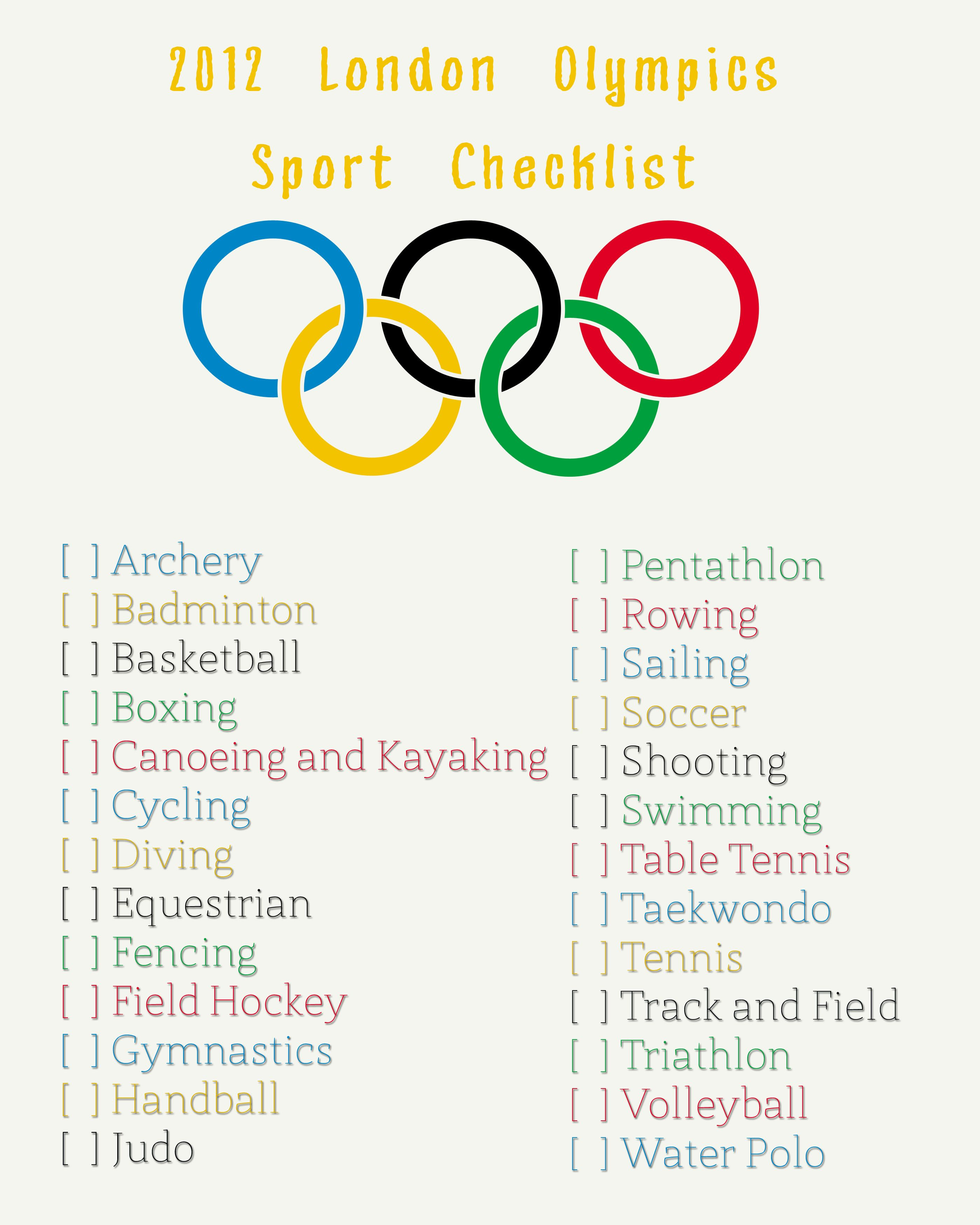 olympic checklist: how many different sports can you try? or watch