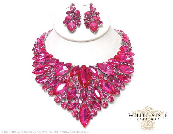 Fuchsia Wedding Jewelry Set Vintage Inspired by WhiteAisleBoutique