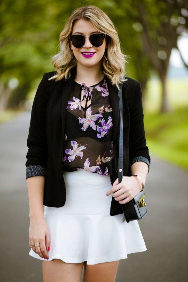 7c92a1a27 Look do dia: saia branca + blazer preto | Looks/Costuras/Acessórios ...