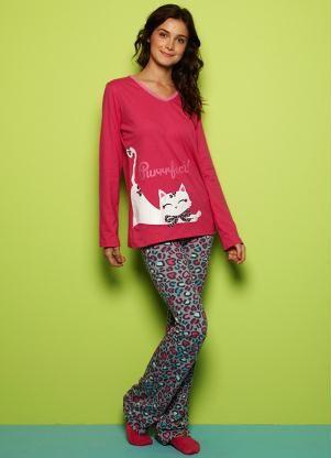 552996e1155f0e Pijama Adulto Feminino (Rosa) Puket | Jammies | Pijama, Pijamas e Roupas