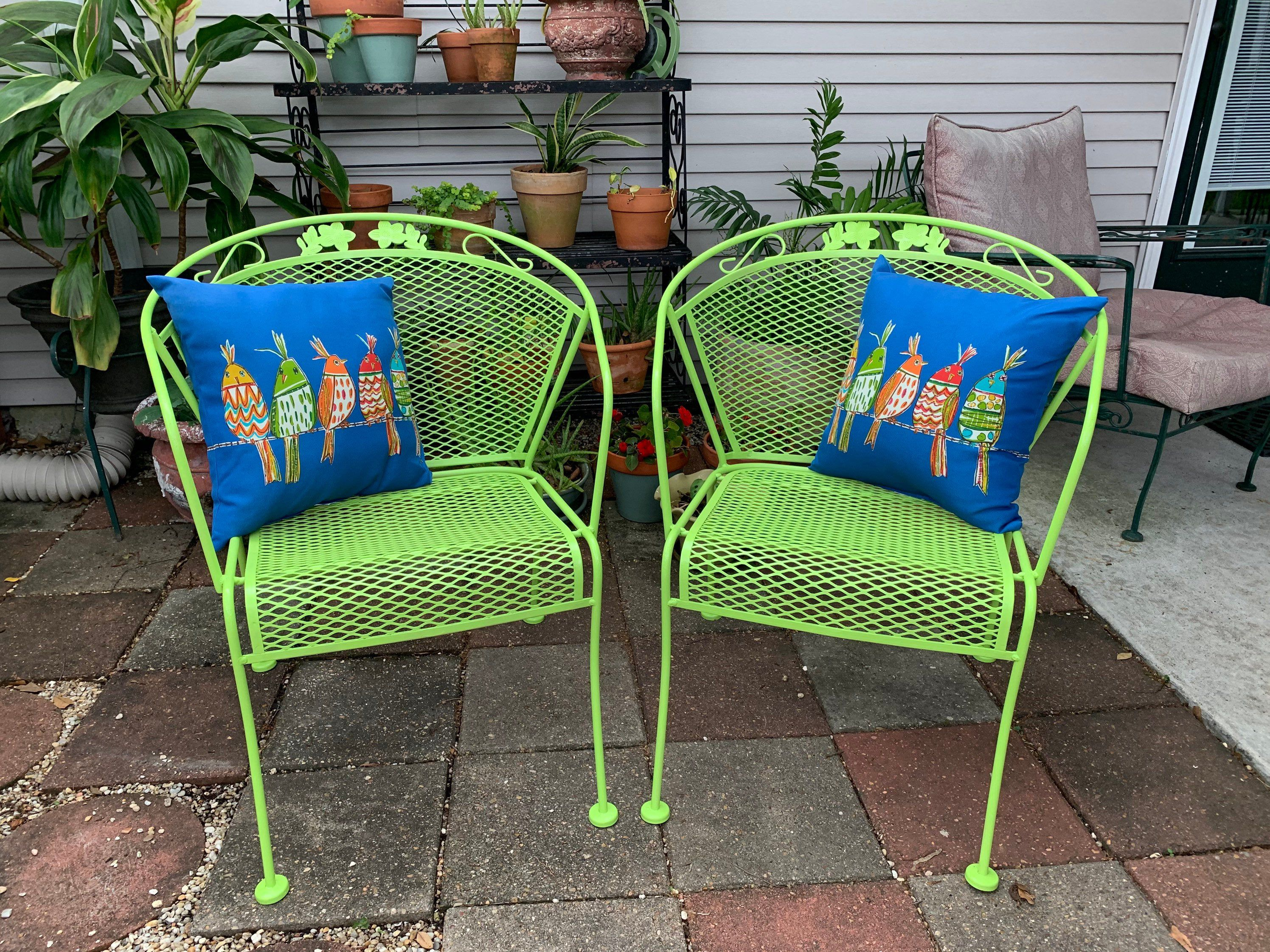 Excited To Share This Item From My Etsy Shop Pair Of Wrought Iron Barrel Patio Chairs Lime Green Pillows Vintage Lime Green Pillows Green Pillows Mesh Chair