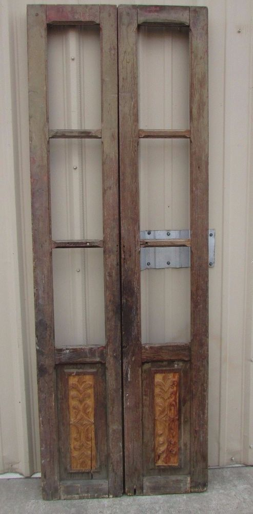 Antique Pair Carved Mexican Old-Vintage-Primitive-Rustic-33x94-French Doors & Antique Pair Carved Mexican Old-Vintage-Primitive-Rustic-33x94 ...