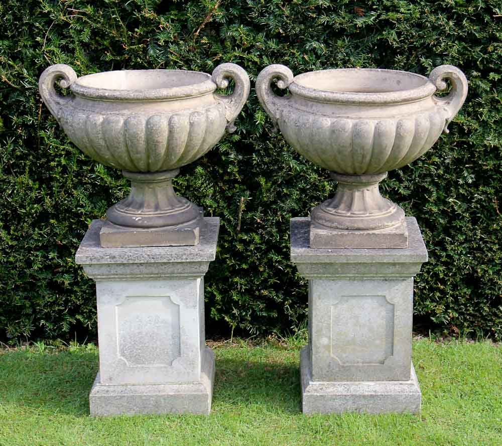 Garden urns and planters pair of 19th century stoneware lobed urns garden urns and planters pair of 19th century stoneware lobed urns with scroll handles workwithnaturefo