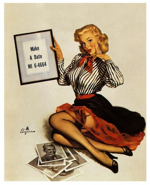 Make a date today! #vintage #pinup #girl #1950s