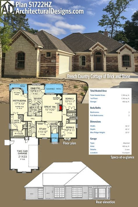 Marvelous Our Client Built Architectural Designs House Plan In Texas With Beautiful  Stone And Brick Work On The Exterior. The Home Give You 3 Beds And Over  Square ...