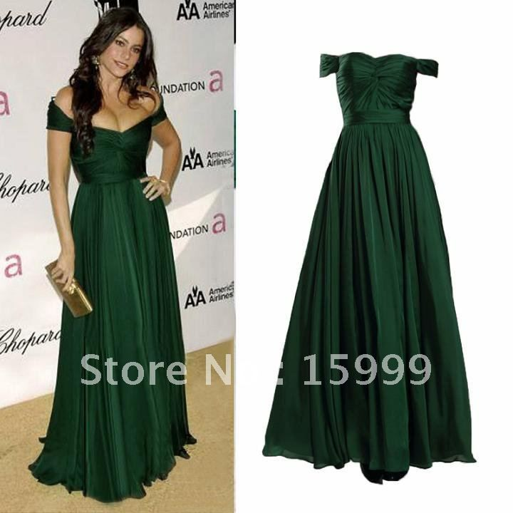 Free Shipping Full-Length Chiffon Dark Green Prom Ball Lady's ...