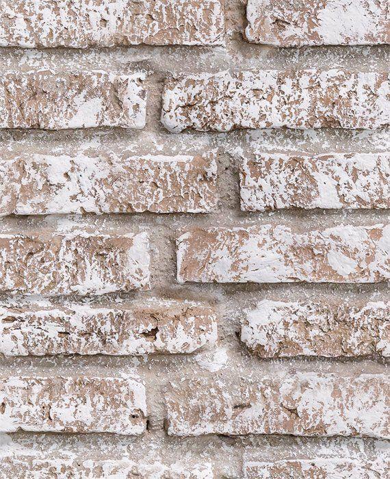 Whitewashed Vintage Brick Self Adhesive Fabric Wallpaper Etsy Brick Wallpaper Peel And Stick White Wash Brick Brick Veneer