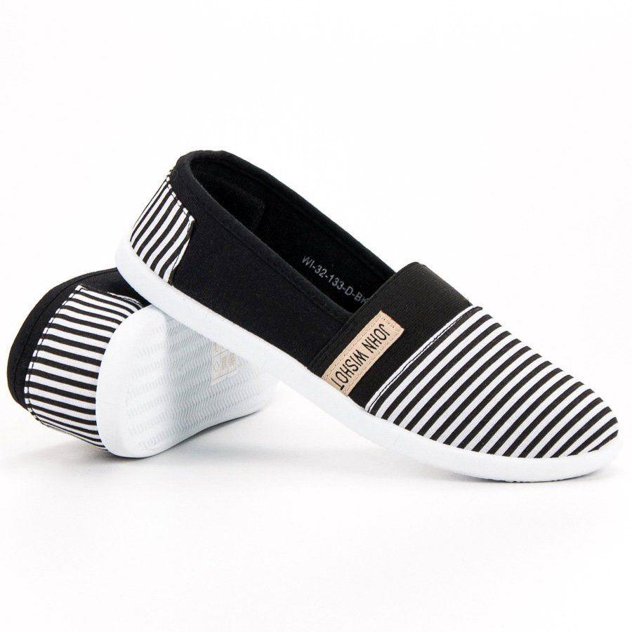 Shelovet Slipony W Paski Czarne Slip On Sneaker Sneakers Shoes