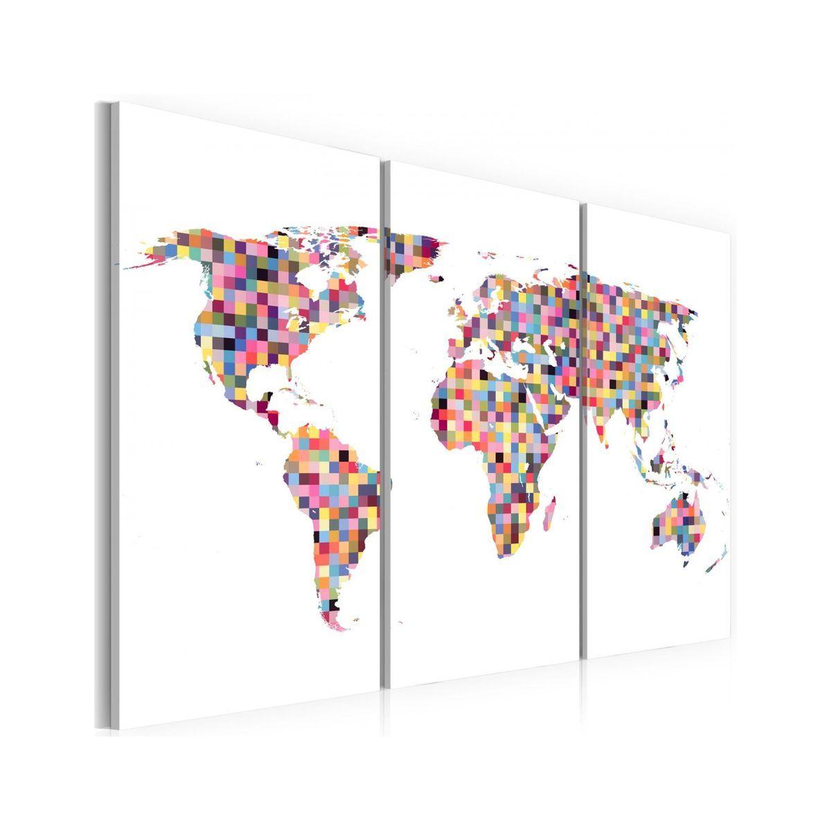 Tableau Carte Du Monde En Pixels Triptyque In 2019