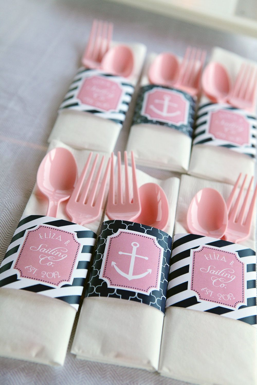 Preppy Nautical Collection: Printable Napkin Rings (Color Choices ...