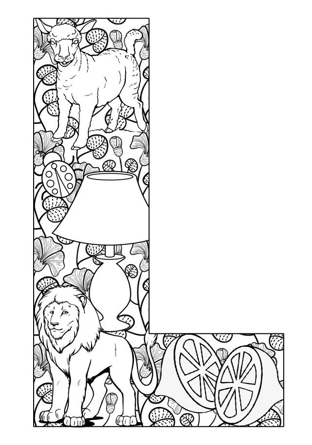 Alphabet Coloring Pages L : Things that start with l free printable coloring pages