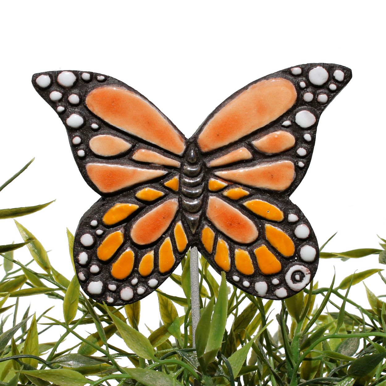 Ceramic Butterfly Garden Art. Monarch Butterfly Garden Decor. Orange.  Www.gvega.