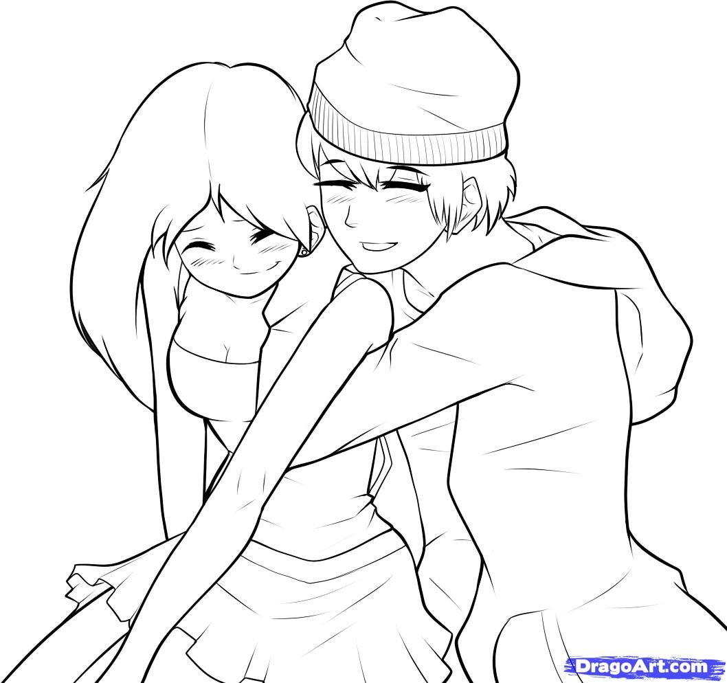 how to draw a boy and girl step 8 | sketch | pinterest | anime ... - Coloring Pages Girls Boys