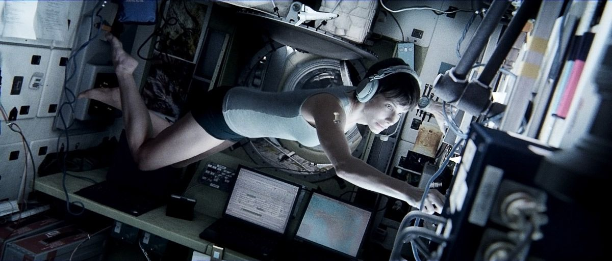 Image from Alfonso Cuarón's Gravity, starring Sandra Bullock and George Clooney