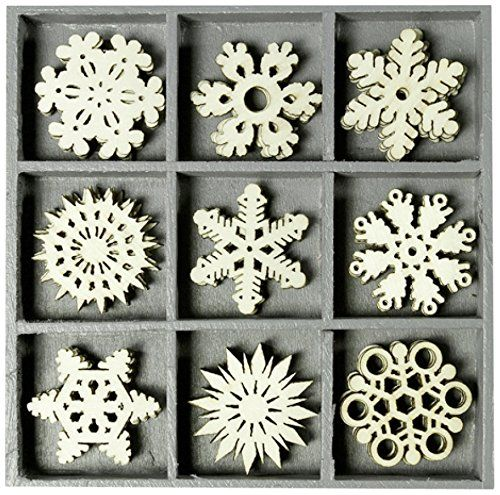BOX OF 45 WOODEN SHAPES ORNAMENTS SUN STAR 1019