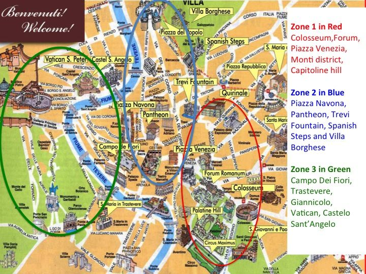 Rome Subway Map To Trevi Fountain Spanish Steps.Map Of Rome Divided Into 3 Zones Rome In 2019 Rome Travel