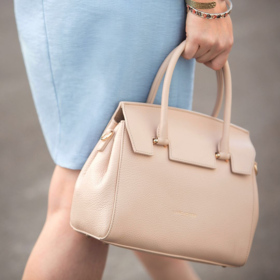f8cd5985df54  Pastel  Blue    Blush with our  handbag  Alena.  bag  outfit  focus   leather  accessory  fashion  trend  summer  lancaster  lancasterparis