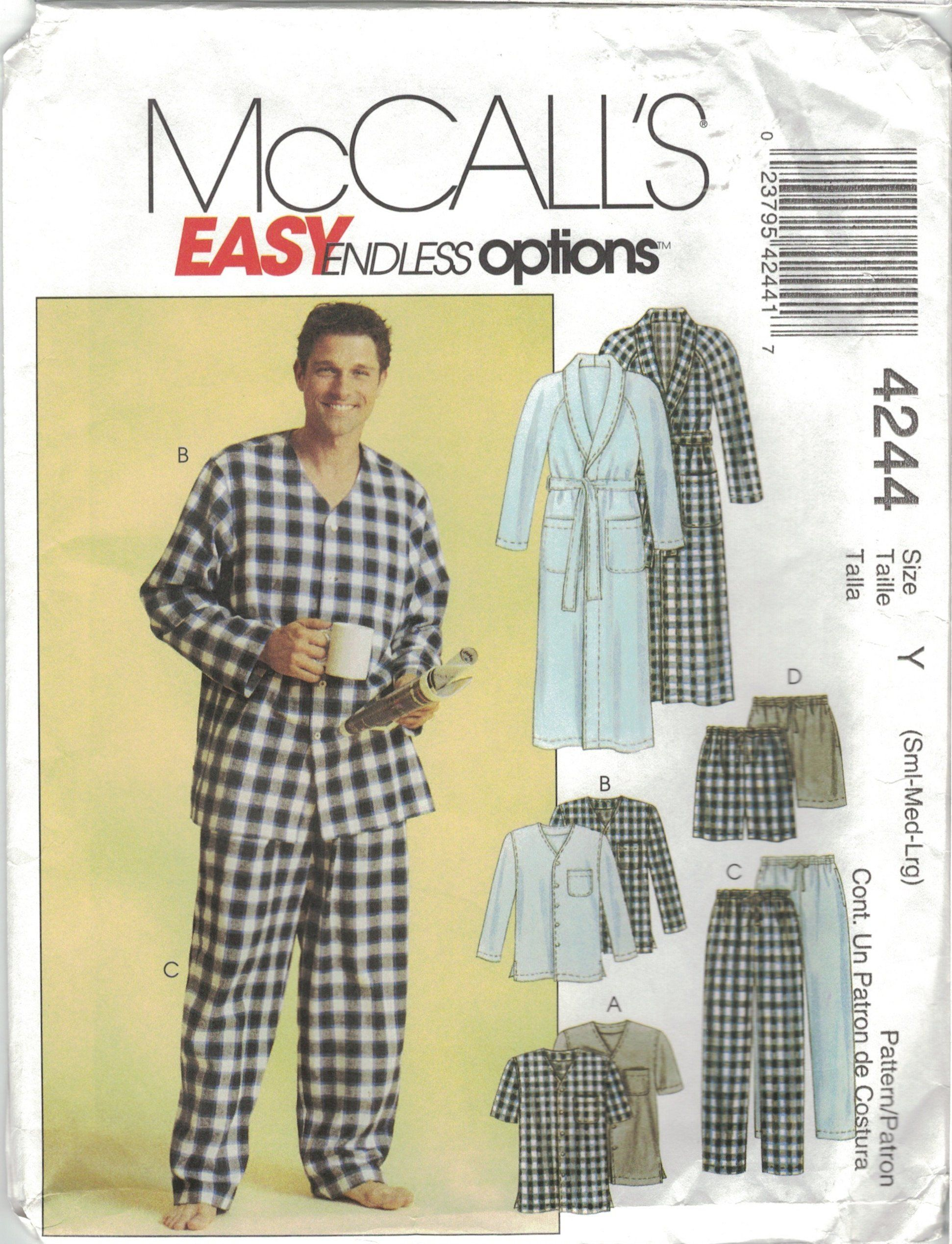 bb43b21375 McCall s Easy 4244 Men s Pajama Pants Shorts   Robe Sleepwear Pattern Size  Small Med Large 34-44 by TheTasteLady on Etsy
