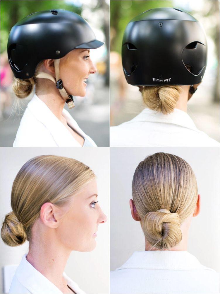 10 Easy Helmet Friendly Hairstyle Tutorials For Looking Stylish When Cycling Motorcycle Hairstyles Womens Bike Helmet Helmet Hair