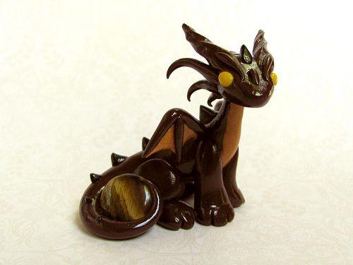 Tiger Eye Brown and Gold Gem Dragon