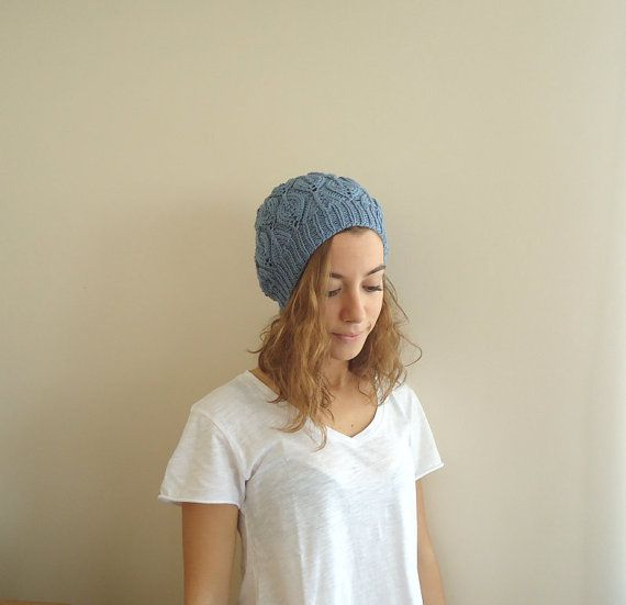 Hand Knitted BLUE Beanie HATwomenteenagefall winter by MARYsworks