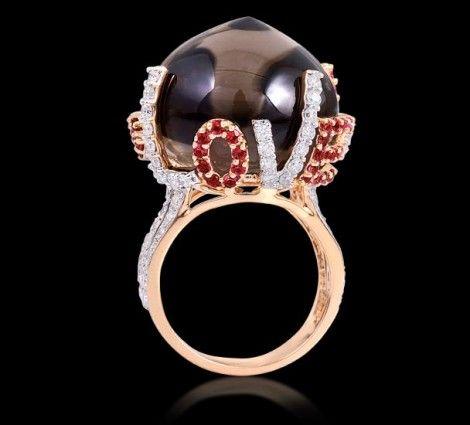 Smoky Topaz & Ruby Ring