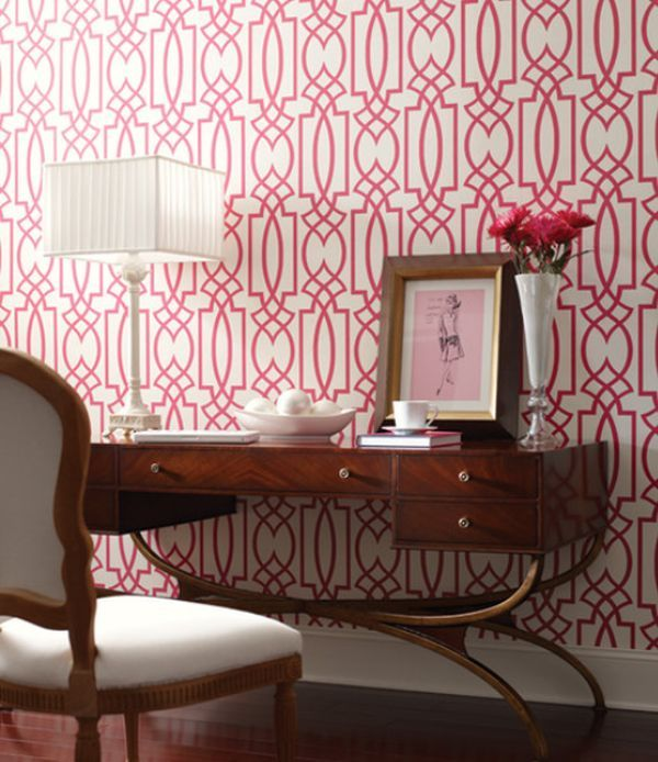 Pink Living Rooms Ideas That Are Not Overbearing | Trellis pattern ...