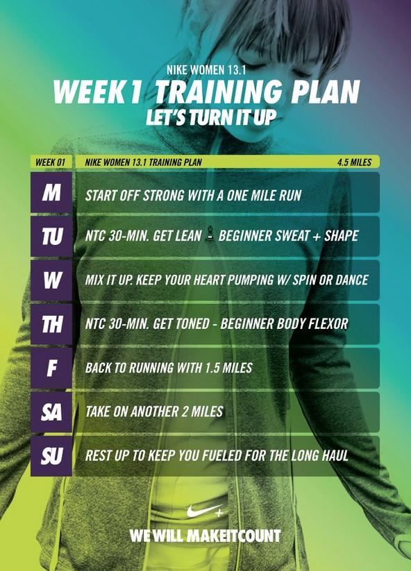 1/2 Marathon Week 1 Training Half marathon training plan