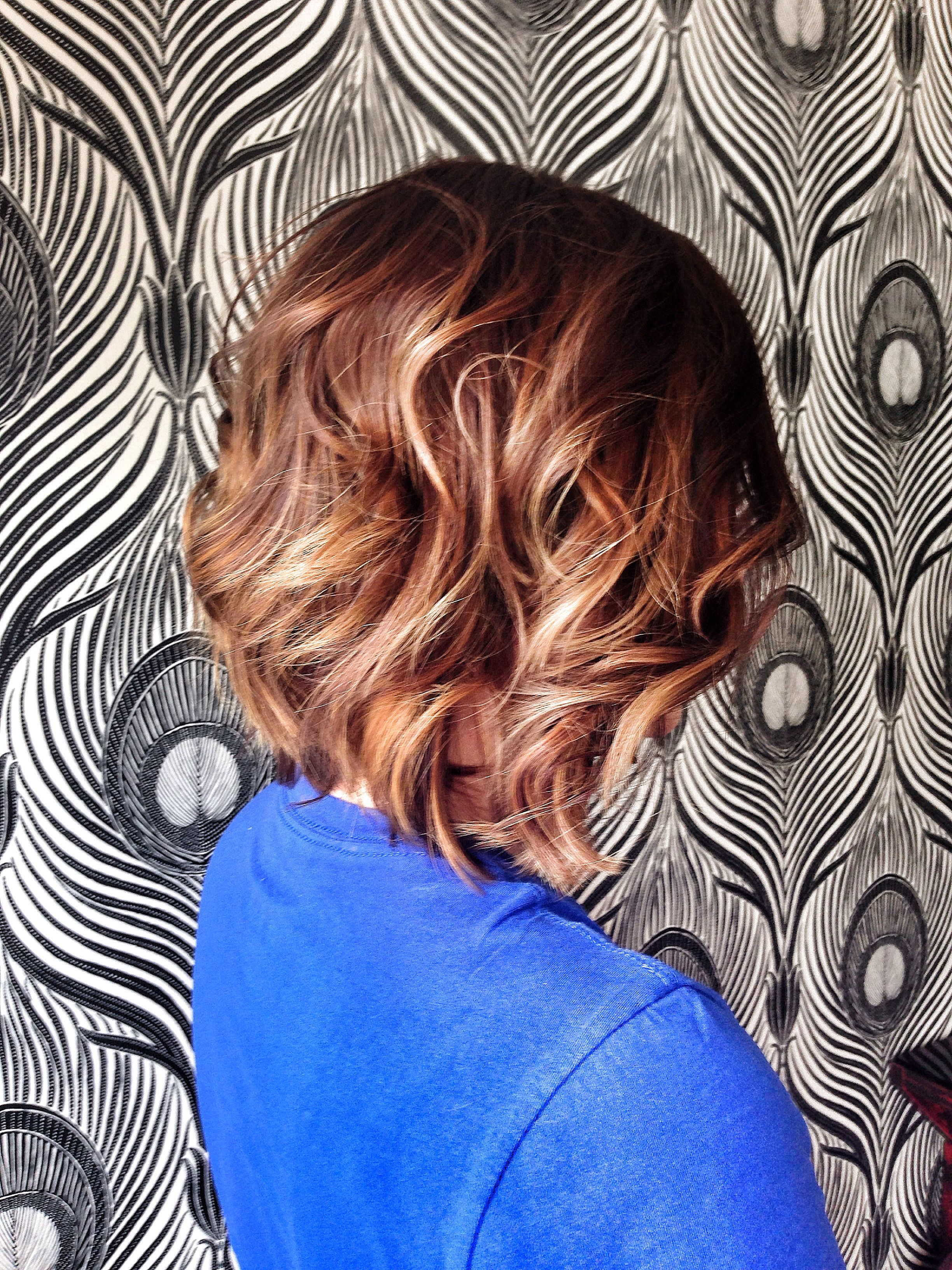 Ombré on long layered bob flat iron curl for finishing hair by