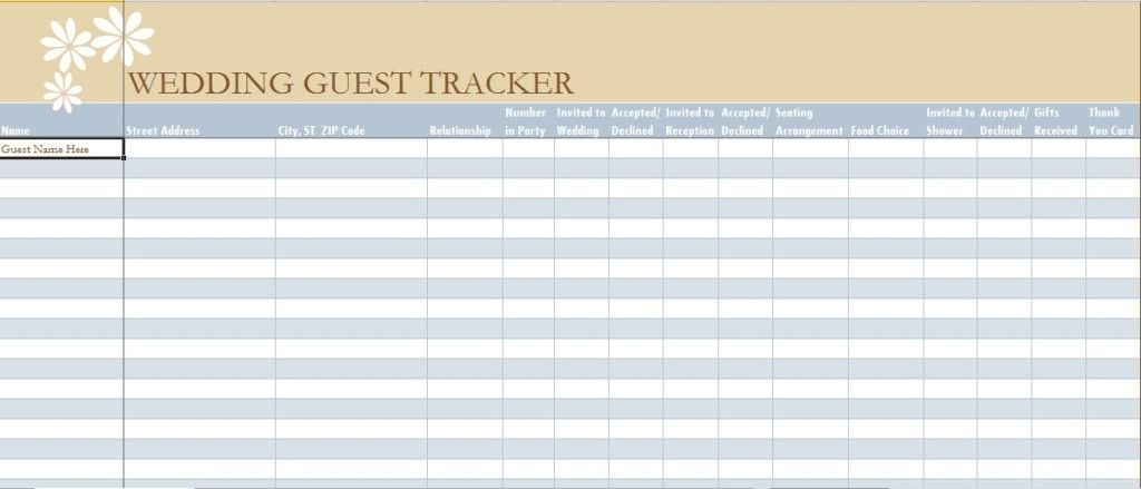wedding guest list spreadsheet