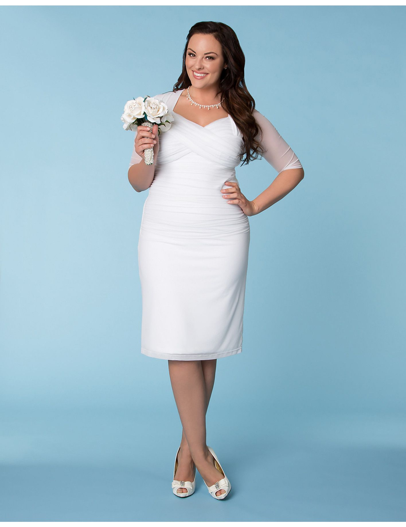 Wedding reception dresses for bride  Raquel Ruched Wedding Dress  Lane Bryant  third timeus a charm