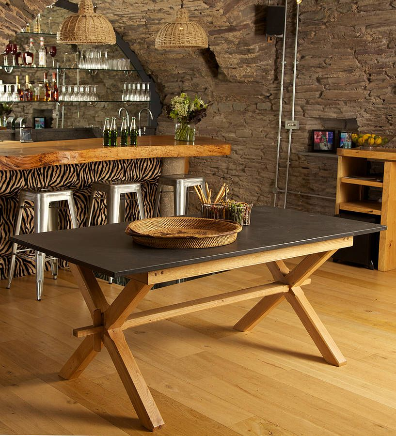 Oak Refectory Style Slate Top Table By Slate Top Tables