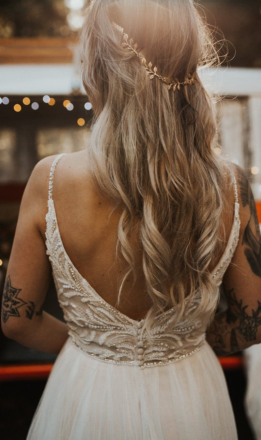 Rock N Roll Styled Shoot Featuring Beaded Lace Gown And Camper Van Informal Wedding Dresses Maggie Sottero Wedding Dresses Wedding Dresses