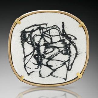 Ink.  Pin/pendant.  Vitreous enamel, 22K gold, 18K gold, fine silver, oxidized silver.