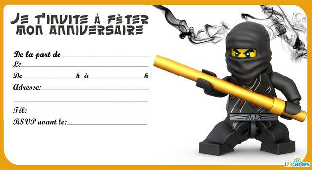 8 invitations anniversaires lego ninjago gratuites imprimer avec les personnages de cole jay. Black Bedroom Furniture Sets. Home Design Ideas