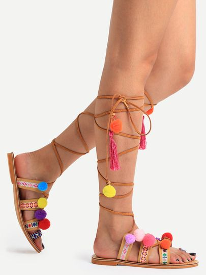 Sandales lacets avec boucle - multicolore -French SheIn(Sheinside)