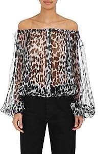 79dc41fa8005cc Saint Laurent Women s Leopard-Print Silk Blouse-Black