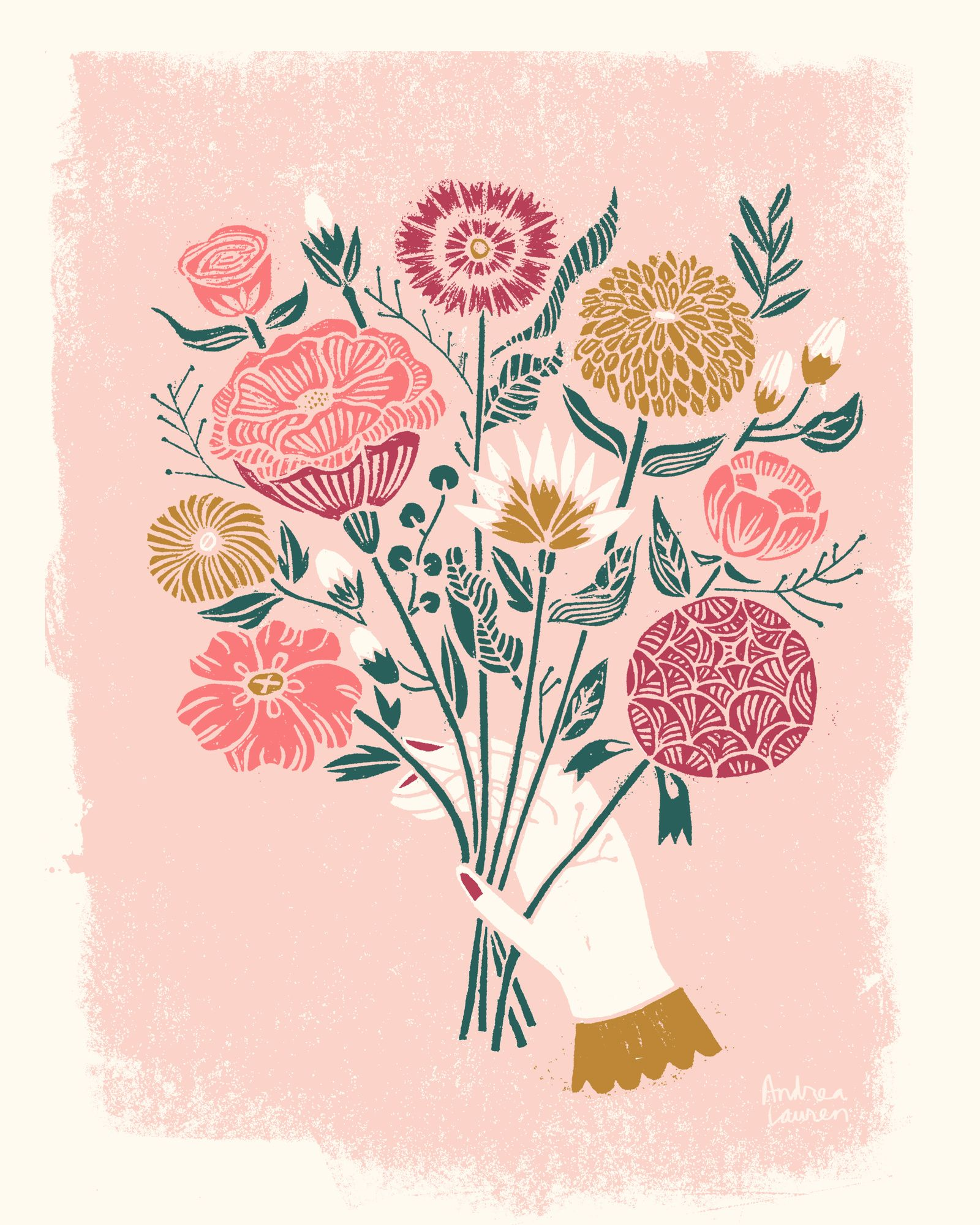 Linocut illustration bouquet linocut illustration printmaking