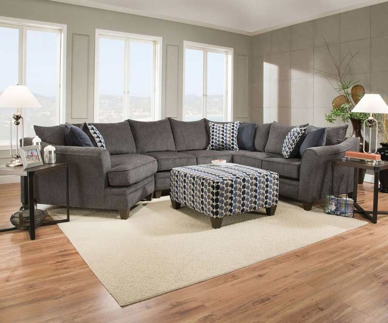 Acme Furniture   Albany 3 Piece Sectional Sofa With Pillows And Ottoman    53835 53839